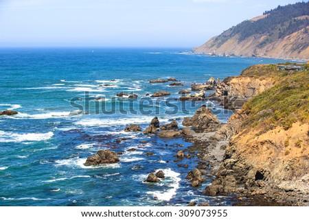 Rocky Pacific coast of Mendocino County, California