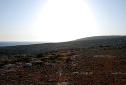 Rocky panorama at sunset. Lampedusa, summer 2009.