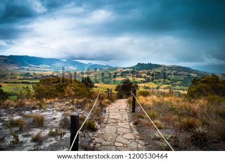 Rocky path through a mountain field in the natural park Laguna del Cacique Guatavita. #1200530464