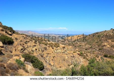 Rocky Peak Trails running eastward to San Fernando Valley, Santa Susana Mountains, CA