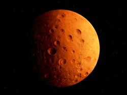 rocky planet in space, cosmic landscape, surface of the planet, mars isolated.