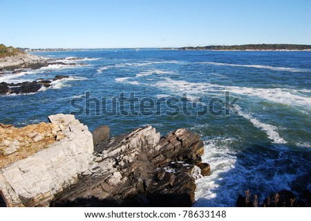 Rocky Seashore in Portland, Maine, USA