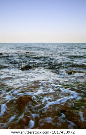 rocky seashore, sea summer landscape #1017430972