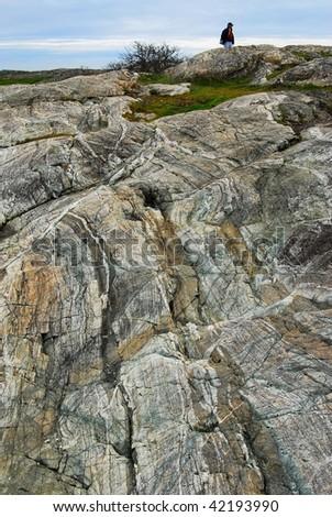 Rocky shore at oak bay, victoria, british columbia, canada