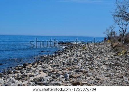 rocky shore line located in  rye new hampshire Foto stock ©