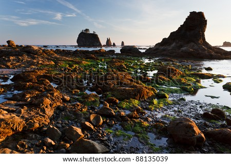 Rocky shoreline and and tide pools at sunset