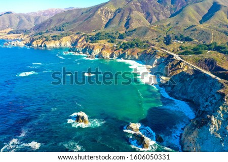 Rocky shoreline and Highway 1 viewed from above, Big Sur, California