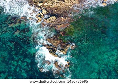 Rocky shoreline off of Newport Beach near Crystal Cove