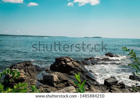 Rocky shoreline off the coast of Maine