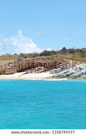 Rocky shoreline on Necker Island, British Virgin Islands Stock photo ©