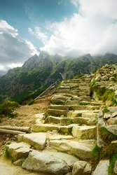 rocky stairs on high mountains