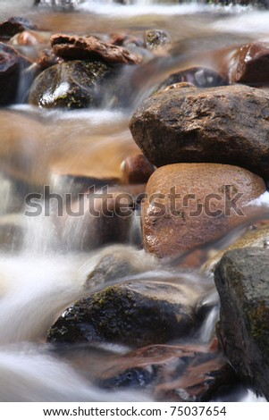 Rocky Stream - Flowing water captured with a slow shutter speed to create a blurred effect