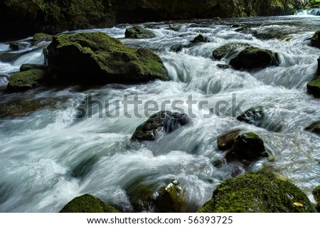 Rocky Stream Running Water - stock photo
