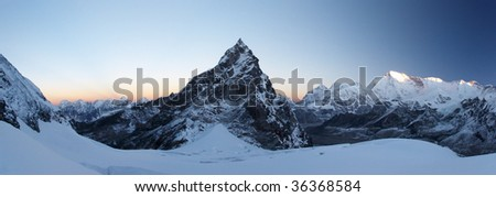 Rocky summit at sunrise panorama, Himalaya, Nepal
