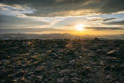 Rocky vista atop of Mount Flora, Colorado