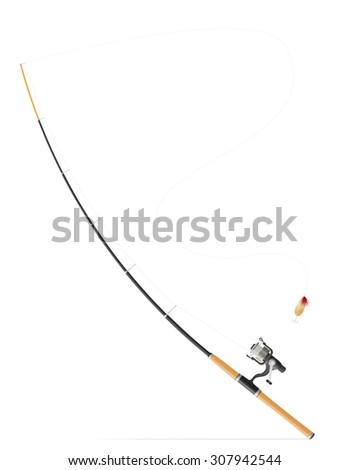 rod spinning for fishing illustration isolated on white background #307942544