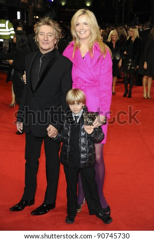 "Rod Stewart, Penny Lancaster and son Alistair arriving for the ""Hugo"" Royal Gala Premiere at the Odeon Leicester square, London. 28/11/2011 Picture by: Alexandra Glen / Featureflash"