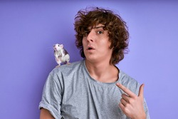 rodent training and taming. male with decorative rat on shoulders, young male makes funny face, grimace. isolated purple background