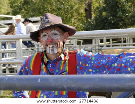 Rodeo Clown Faces http://www.shutterstock.com/pic-27714436/stock-photo-rodeo-clown-in-a-bull-pen.html