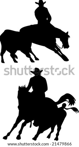 Rodeo cowboy horse cutting