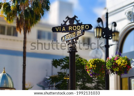 Rodeo Dr, street sign in Beverly hills in California Stockfoto ©