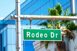 Rodeo Drive green road sign in Beverly Hills, California. Blurred palm tree and office building background.