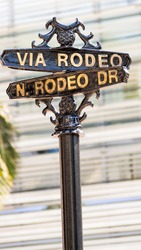 Rodeo Drive street sign in Beverly Hills, California.