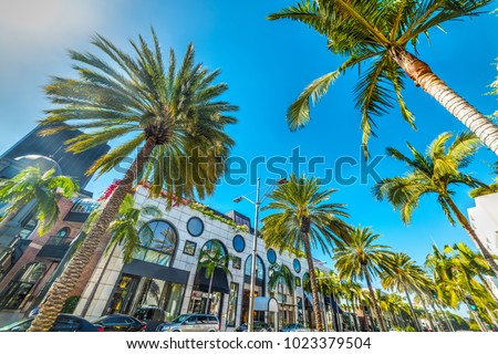 Rodeo Drive under a shining sun, Beverly Hills. California, USA #1023379504