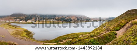 Rodeo Lagoon and Fort Cronkhite on the Pacific Ocean coastline, on a cloudy day, Marin Headlands, Marin County, California #1443892184