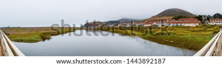 Rodeo Lagoon and Fort Cronkhite on the Pacific Ocean coastline, on a cloudy day, Marin Headlands, Marin County, California #1443892187