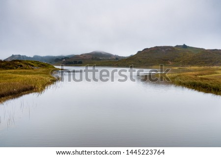 Rodeo Lagoon on the Pacific Ocean coastline, on a cloudy day, Marin Headlands, Marin County, California #1445223764
