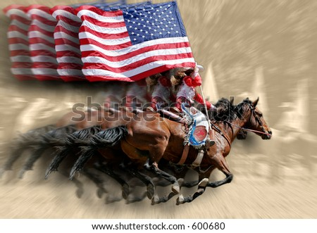 Rodeo Queens & Flags (special effect against sepia background).