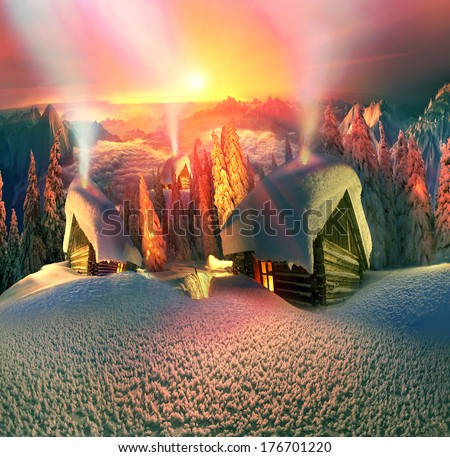 Roerich and the Himalayas to mind in this fantastic story. Fiction-in photographic art, on the fabulous background of frozen alpine peaks, New Year or Christmas, on a moonlit night, with cozy lights