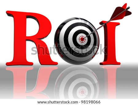 roi red word with conceptual target and arrow on white background clipping path included