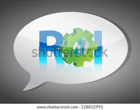 roi speech bubble illustration design over white