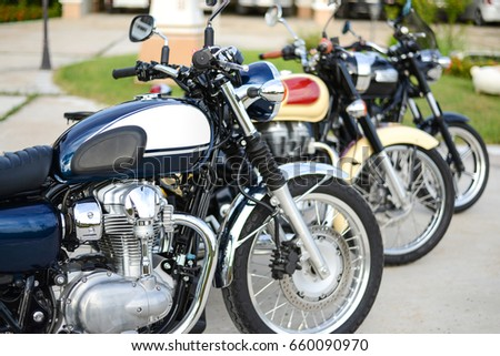 Roiet, Thailand - Jun 11, 2017 : Row of Classic Motorcycle parking #660090970