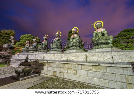 Rokujizo statues of the six Bodhisattvas and Jokoro at Zenko-ji Temple complex in Nagano. Protectors of the six realms of hell, starvation, beasts, carnage, human beings and divine beings #717815755