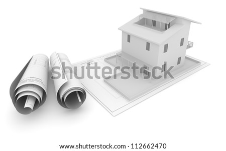 Roll and Plane Architectural Plan with House on White Background