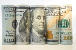 Roll Dollar banknotes. Dollar currency money. Banknotes stacked on each other in different positions. American dollar. US dollar. bill cash federal money papers position Currency exchange concept