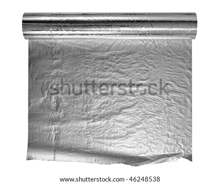 Roll of aluminium foil, isolation on a white background