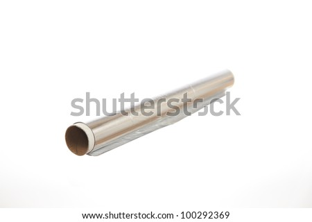 Roll of aluminum foil isolated on white background