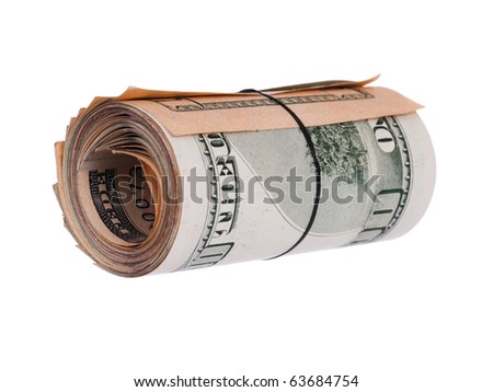 Roll of banknotes isolated on a white background