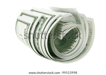 Roll of Banknotes on White Background
