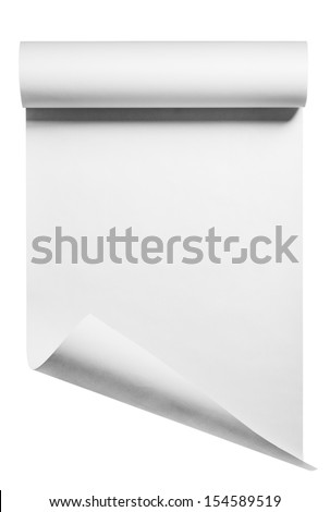 Roll of blank white paper ready for type, isolated with clipping path ストックフォト ©