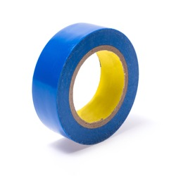Roll of blue Electrical insulating tape isolated