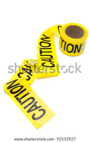 Roll of caution tape, isolated on white, copy space