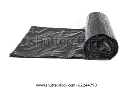Roll of disposable trash bags isolated over white background