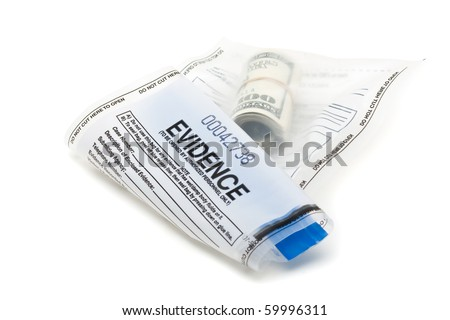 Roll of dollar bills in evidence bag