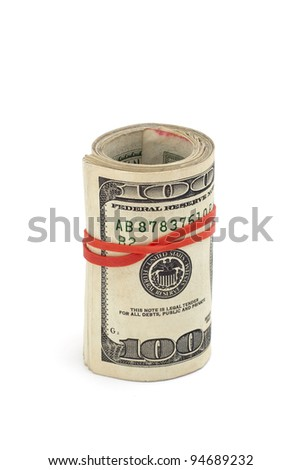 Roll of dollar bills isolated on white, copy space
