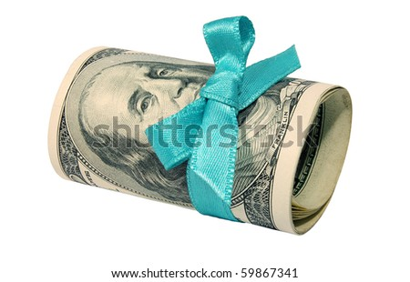 Roll of dollars with a blue bow isolated on white background - stock photo